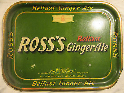 Vintage Ross's Belfast Ginger Ale Tin Litho Tray Advertising