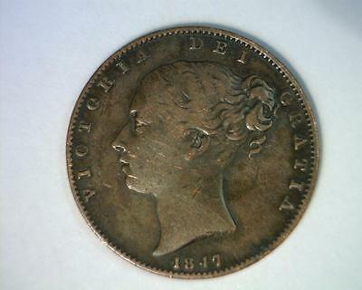 Great Britain 1847 Farthing Km725  Very Fine   ~ 4009