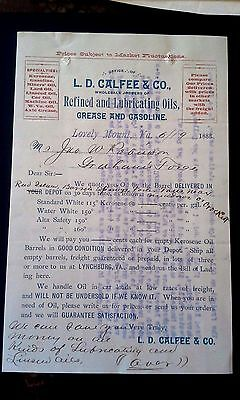 "Collectible 1888 Letter Head ""L.D. CALFEE & CO.""   Lovely Mount, VA"