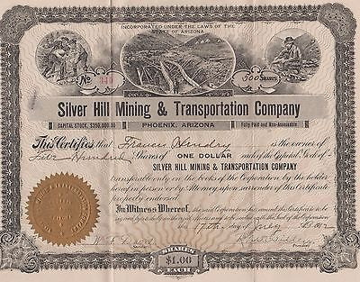 Silver Hill Mining & Transportation Company 500 Share Stock Certificate 1912
