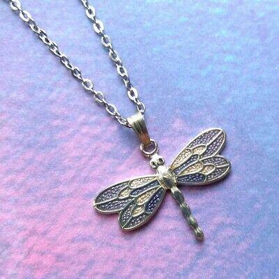 New Silver Tone Purple Fine Enamel Dragonfly Pendant Necklace in Gift Box 2718