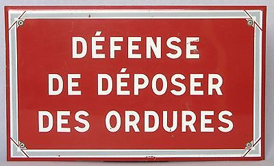 Large Vintage French Metal Sign ~ NO LITTERING ~ Red with White Lettering