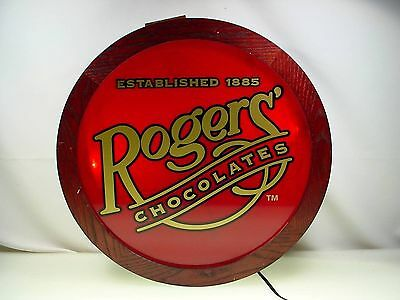 Rogers Chocolates Candy Advertising Sign Lighted Chocolate Store Wooden Sign