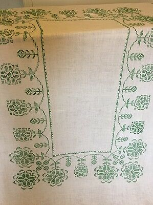 True Vtg White Linen Tablecloth Cross Stitched Green Flowers  Shabby Chic 46X66