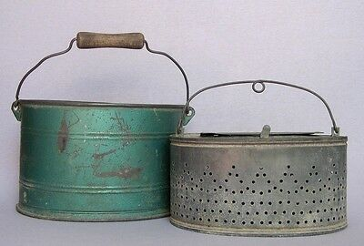 Vintage French Double Galvanized Zinc Green Fishing Creel Bait Bucket w/ Handles