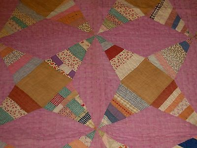 "VTG/Antique Feedsack Pink Star Hand Sewn/Stitched Quilt 72"" X 62""!"