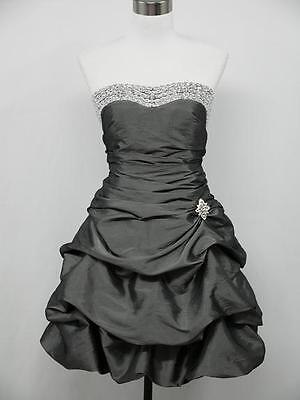 dress190 GREY SATIN STRAPLESS SPARKLE PROM COCKTAIL BALL EVENING DRESS SIZE 16