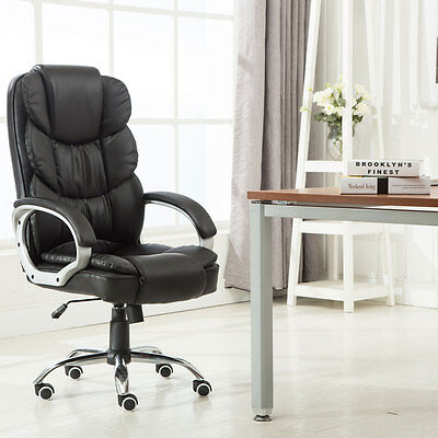 Executive PU Leather Office Chair High Back Ergonomic Computer Desk Task Black