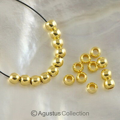 24K Gold Vermeil on 925 SILVER Lot of 10 Round 3.0mm BEADS 3-Micron Plated 0.58g