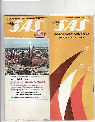 Old Scandinavian Airlines SAS Airways Worldwide Timetable Winter '62-63' 46 pag