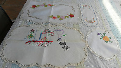 4 x beautiful hand embroidered and hand crotched doilies