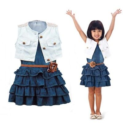 Baby Kids Girls Outfits Set Demin Dress+Vest Tops/Denim Tops+Mesh Tutu Dress UK