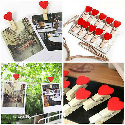 10Pcs Cute Love Hearts Wooden Clips Photo Clamps Crafts Wedding Party Home Decor