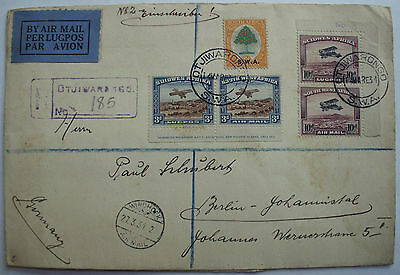 South West Africa 1934 Air Mail to Germany Registered cover