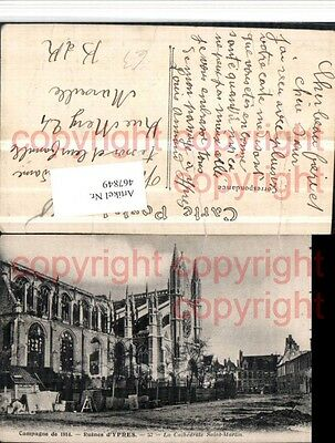 467849,Belgium Ypres Ypern Ruines Cathedrale St-Martin Kirche