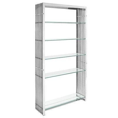 Modway Furniture EEI-1432-SLV Gridiron Stainless Steel Bookshelf - Silver NEW