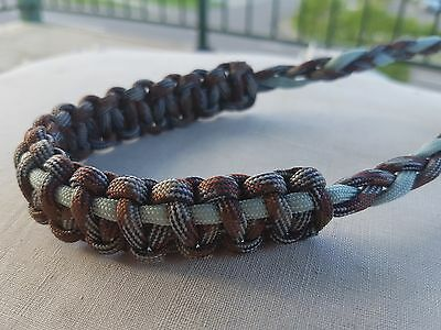 Archery Bow Sling 550 Paracord Camo Brown & Silver Gray  +3 zipper pulls