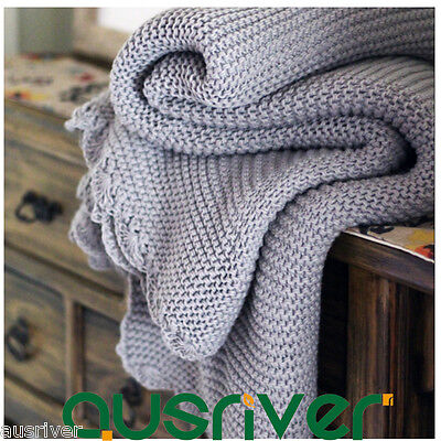 Soft Knitted Light Grey Throw Rug Couch Lounge Sofa Blanket HomeSingle 130x170cm