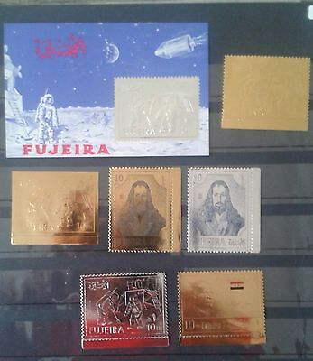 TIMBRE OR ET ARGENT, stamp gold silver FUJEIRA, NEUF MINT