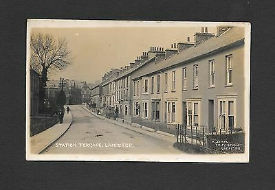 Real Photo Edwardian 1900s  Postcard Station Road Lampeter