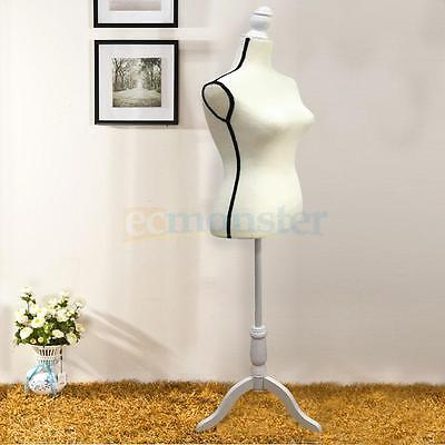 New Fiberglass Female Mannequin Torso Clothing Display W/ White Tripod Stand