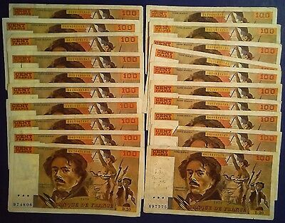 FRANCE: 20 x 100 Francs Banknotes - Very Fine