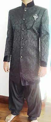 mens sherwani indian pakistani bollywood suit jacket groom 36-46 black designer