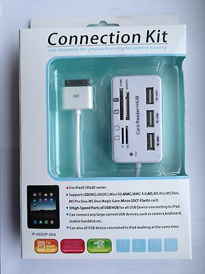 Multi Card Reader + Hub USB Camera Connection Kit for Apple iphone,iPad