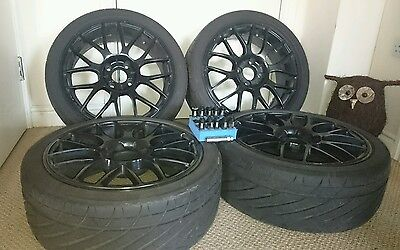 """17"""" ACE Black alloy wheels x4 with lug nuts.."""
