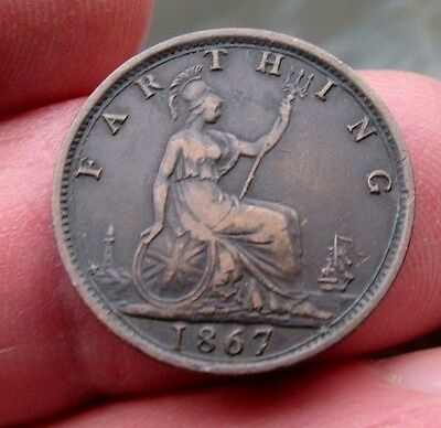1867 Queen Victoria Farthing Young head