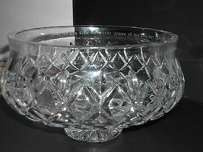 Bohemian Quality Crystal Large Bowl Hand Cut Diamond Pattern Engraved footed