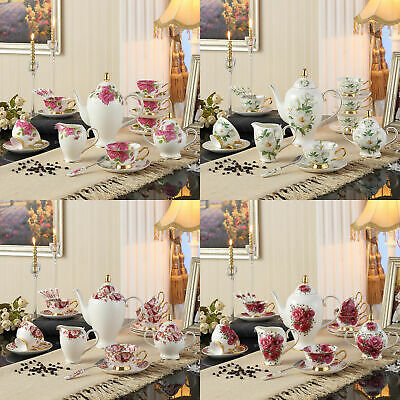21 Piece European High Quality Tea Set Teapot Saucer Porcelain Coffee Fine Bone