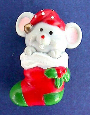Buy3/Get1FREE~RUSS Christmas Pin MOUSE in STOCKING Vintage Holiday Jewelry