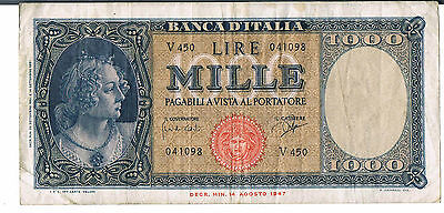 ITALY BANKNOTE 1000 P88d 1961 VF