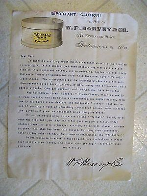 "LOOK! 1893 Letter Head ""W.P. HARVEY & CO."" Cheese Merchant-Baltimore,Maryland"