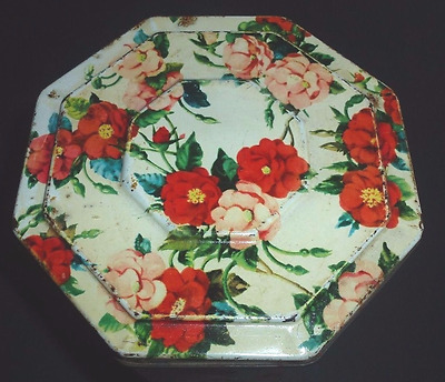 "Rare 1930's HUNTLEY & PALMER ""ROSES"" OCTAGONAL BISCUIT TIN"