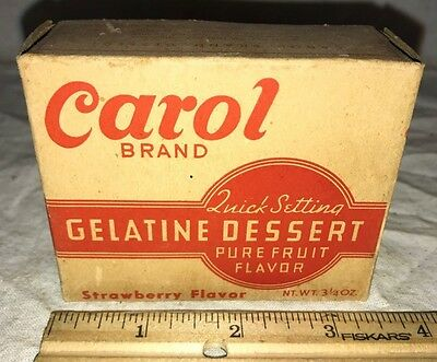 Antique Unopened Carol Gelatine Dessert Vintage Country Grocery Store Box Jell-O