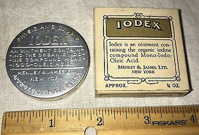 Antique Iodex Ointment Physicians Sample Tin Original Box Vintage Medicine Salve