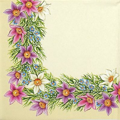 4 Single Lunch Party Paper Napkins for Decoupage Decopatch Craft Pasqueflower