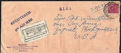 1972 India Registered Air Mail Cover To Detroit