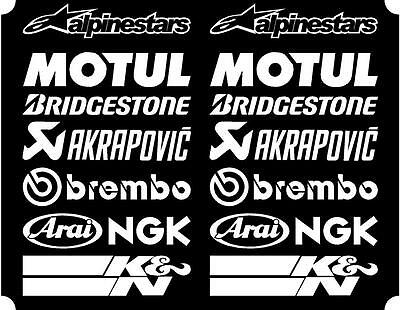 16 X White Belly Pan Fairing Sponsor Logo Decals, Stickers Colour Choice 200mm