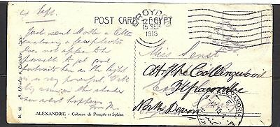 1915 Egypt Post Card (No Stamps Required) To Devon