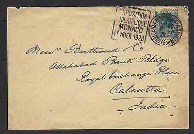 1928 France Monaco Cover To India