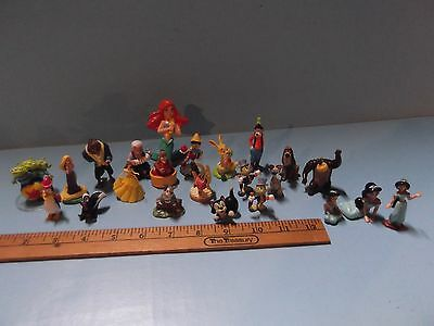 """Disney Lot of 23 Mini Figures sizes From 1/2""""in to 1""""in For Play or Cake Toppers"""