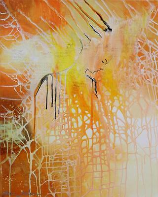 Female Original Fine Art Modern Face Abstract Canvas Painting Tara Baden Signed