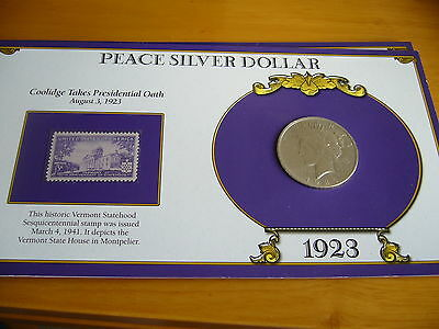United States Of America 1923 Silver Peace Dollar Fdc And Stamp