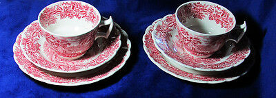 C1910 Booths Red Transferware British Scenery 2 Teacup Trios England