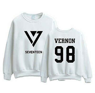 KPOP Seventeen 17 Sweater Sweatshirt Vernon Jacket Pullover White Medium