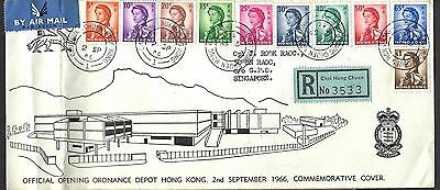 1966 Hong Kong Ordnance Depot Opening Registered FDC To Singapore