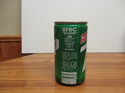 1985 7-up KFRC The Champ Win ad extruded steel soda can.